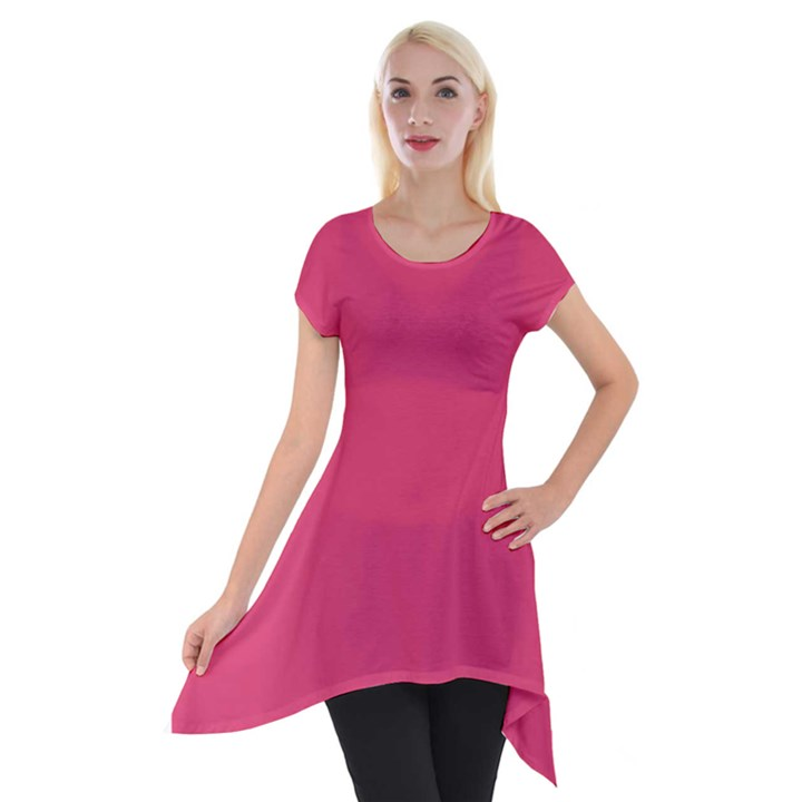 Rosey Day Short Sleeve Side Drop Tunic