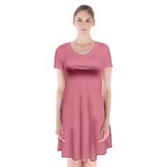 Rosey Short Sleeve V Neck Flare Dress