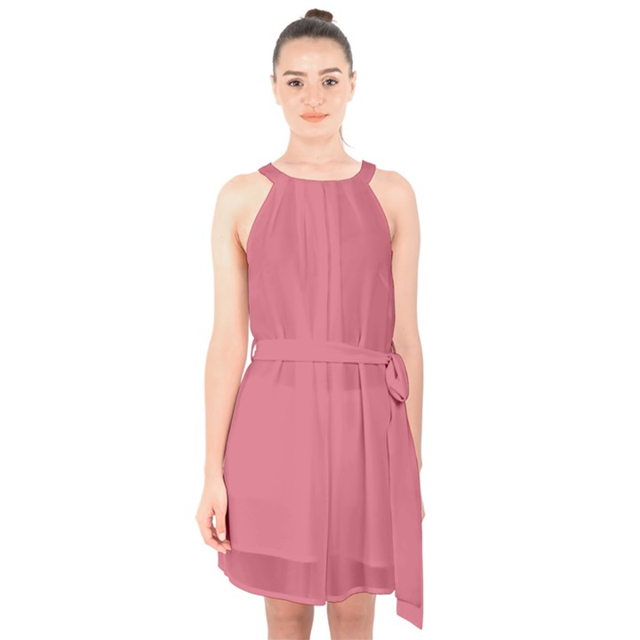 Rosey Halter Collar Waist Tie Chiffon Dress