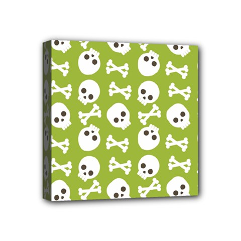 Skull Bone Mask Face White Green Mini Canvas 4  X 4