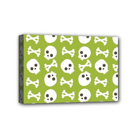 Skull Bone Mask Face White Green Mini Canvas 6  X 4