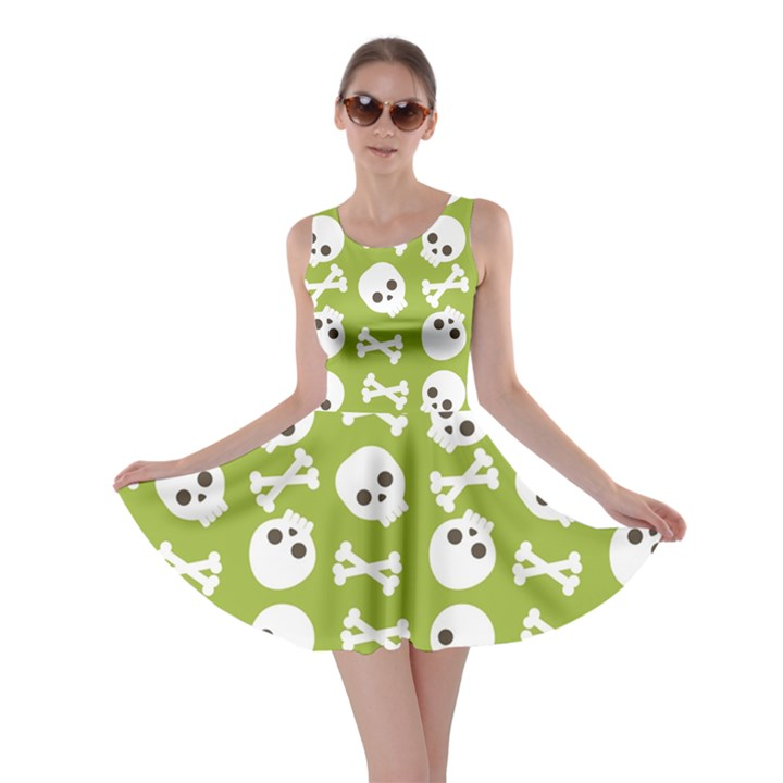 Skull Bone Mask Face White Green Skater Dress