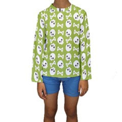 Skull Bone Mask Face White Green Kids  Long Sleeve Swimwear