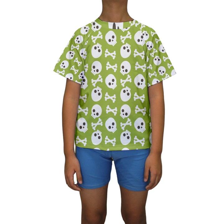 Skull Bone Mask Face White Green Kids  Short Sleeve Swimwear