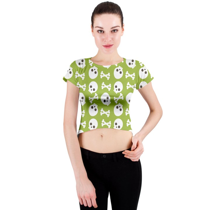 Skull Bone Mask Face White Green Crew Neck Crop Top