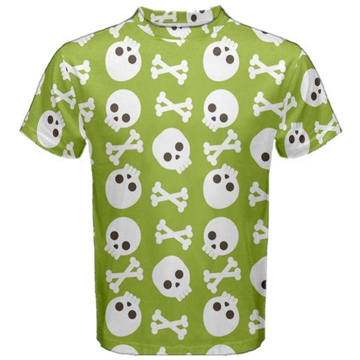 Skull Bone Mask Face White Green Men s Cotton Tee