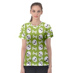 Skull Bone Mask Face White Green Women s Sport Mesh Tee