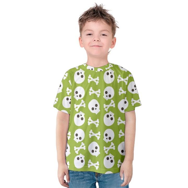 Skull Bone Mask Face White Green Kids  Cotton Tee