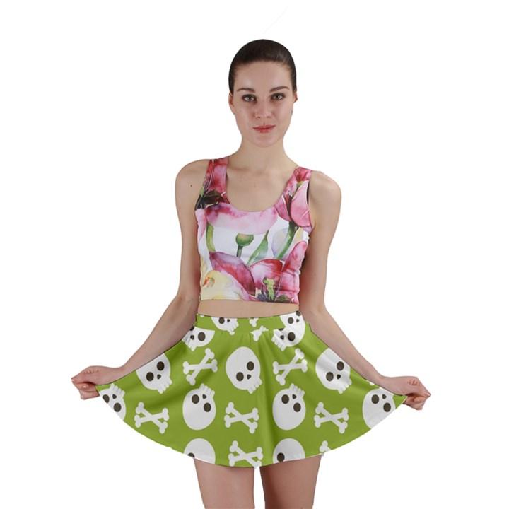 Skull Bone Mask Face White Green Mini Skirt