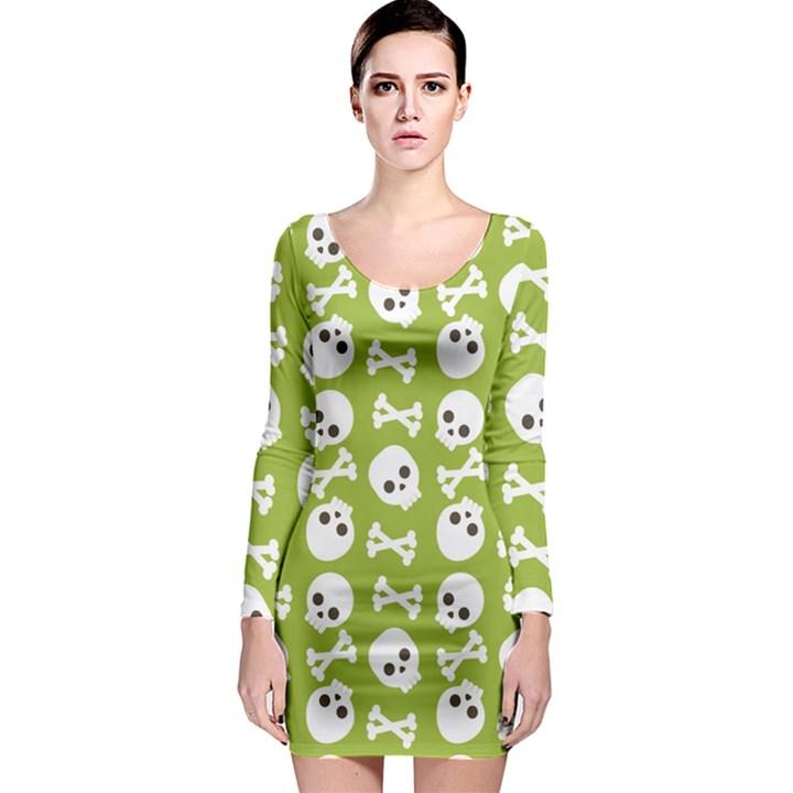 Skull Bone Mask Face White Green Long Sleeve Bodycon Dress
