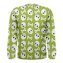 Skull Bone Mask Face White Green Men s Long Sleeve Tee View2