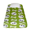 Skull Bone Mask Face White Green Fitted Sheet (Single Size) View1