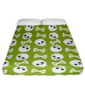 Skull Bone Mask Face White Green Fitted Sheet (California King Size) View1