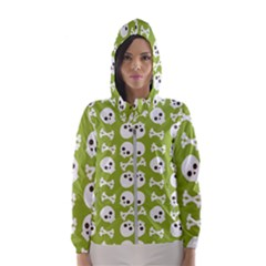 Skull Bone Mask Face White Green Hooded Wind Breaker (women)