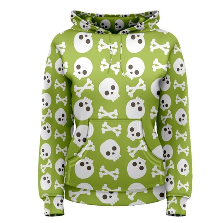 Skull Bone Mask Face White Green Women s Pullover Hoodie