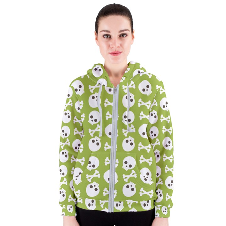 Skull Bone Mask Face White Green Women s Zipper Hoodie