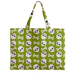 Skull Bone Mask Face White Green Zipper Mini Tote Bag