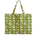 Skull Bone Mask Face White Green Zipper Mini Tote Bag View2