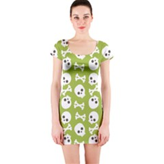 Skull Bone Mask Face White Green Short Sleeve Bodycon Dress