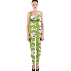 Skull Bone Mask Face White Green Onepiece Catsuit