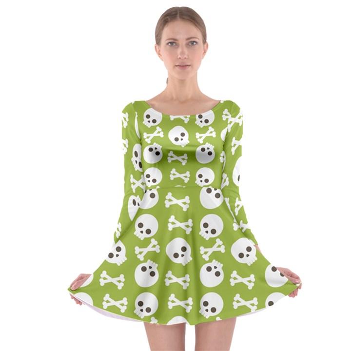Skull Bone Mask Face White Green Long Sleeve Skater Dress