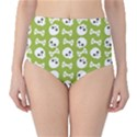 Skull Bone Mask Face White Green High-Waist Bikini Bottoms View1