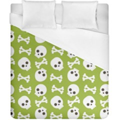 Skull Bone Mask Face White Green Duvet Cover (california King Size)