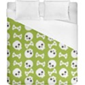 Skull Bone Mask Face White Green Duvet Cover (California King Size) View1