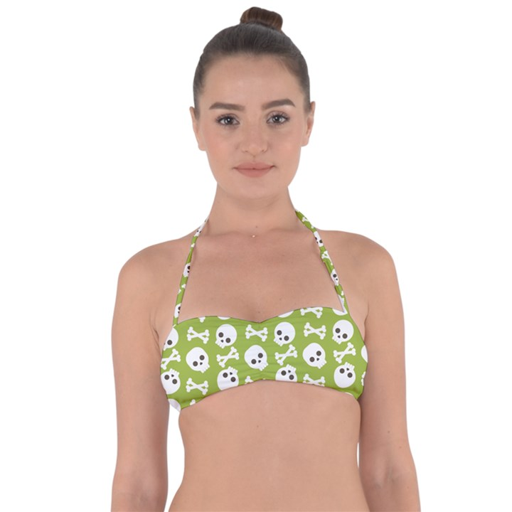 Skull Bone Mask Face White Green Halter Bandeau Bikini Top