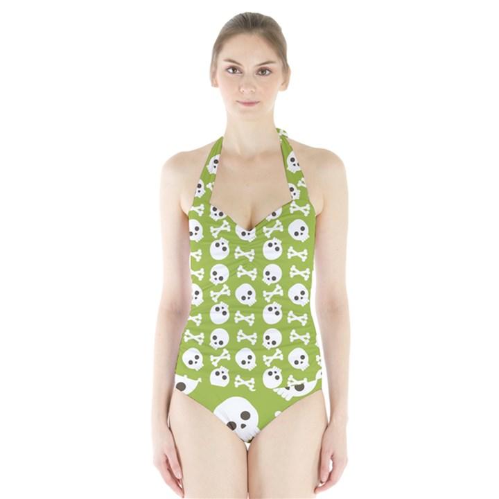 Skull Bone Mask Face White Green Halter Swimsuit