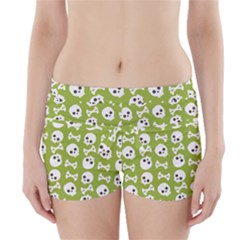 Skull Bone Mask Face White Green Boyleg Bikini Wrap Bottoms