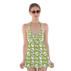 Skull Bone Mask Face White Green Halter Dress Swimsuit