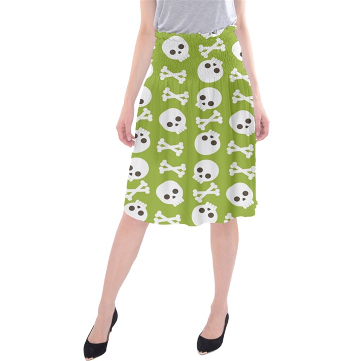 Skull Bone Mask Face White Green Midi Beach Skirt