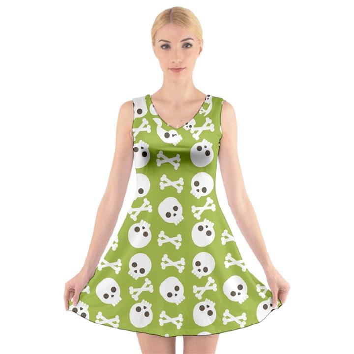 Skull Bone Mask Face White Green V-Neck Sleeveless Skater Dress