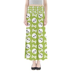 Skull Bone Mask Face White Green Full Length Maxi Skirt