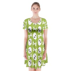 Skull Bone Mask Face White Green Short Sleeve V Neck Flare Dress
