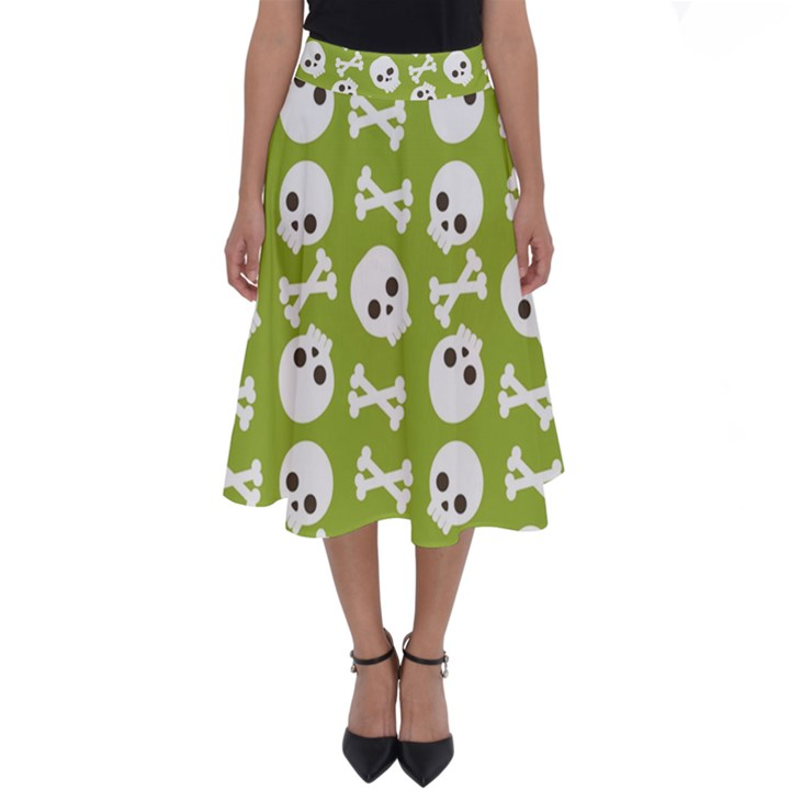 Skull Bone Mask Face White Green Perfect Length Midi Skirt