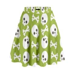 Skull Bone Mask Face White Green High Waist Skirt