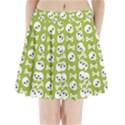Skull Bone Mask Face White Green Pleated Mini Skirt View1