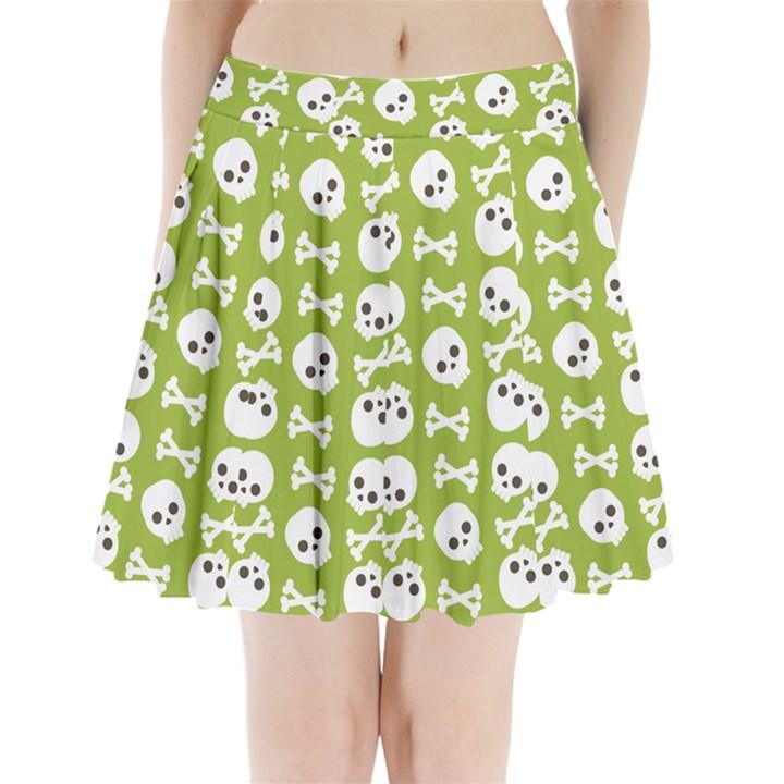 Skull Bone Mask Face White Green Pleated Mini Skirt
