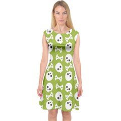 Skull Bone Mask Face White Green Capsleeve Midi Dress