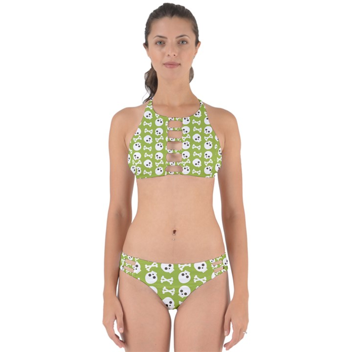 Skull Bone Mask Face White Green Perfectly Cut Out Bikini Set