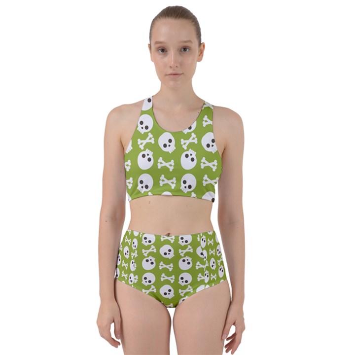 Skull Bone Mask Face White Green Racer Back Bikini Set