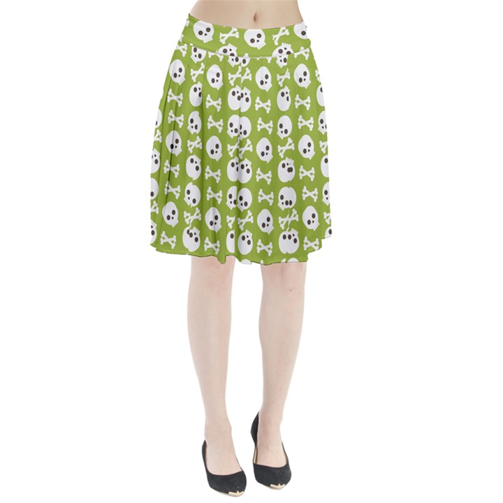 Skull Bone Mask Face White Green Pleated Skirt