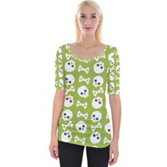 Skull Bone Mask Face White Green Wide Neckline Tee