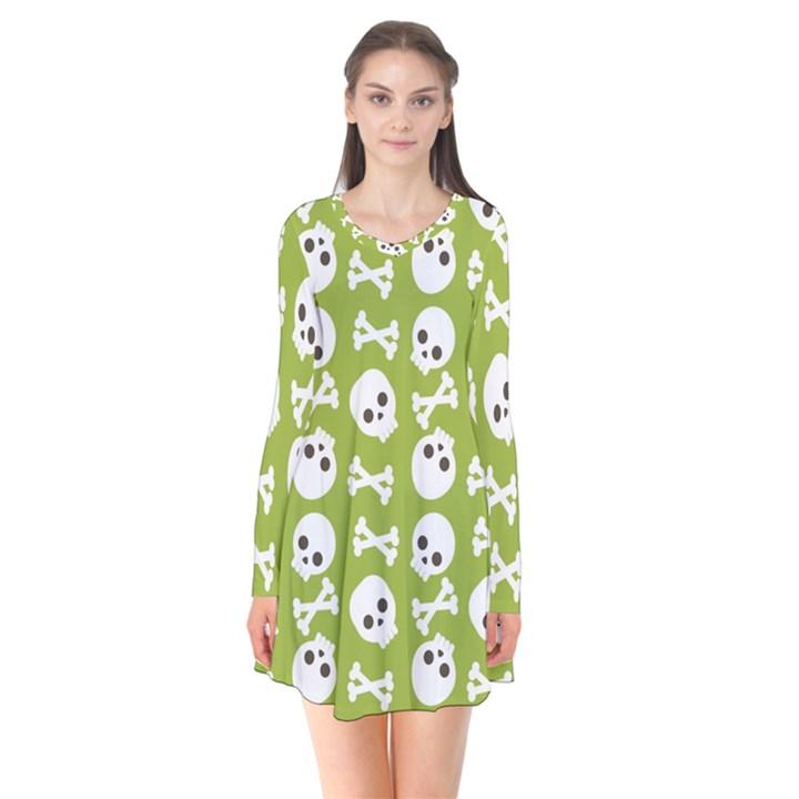 Skull Bone Mask Face White Green Flare Dress