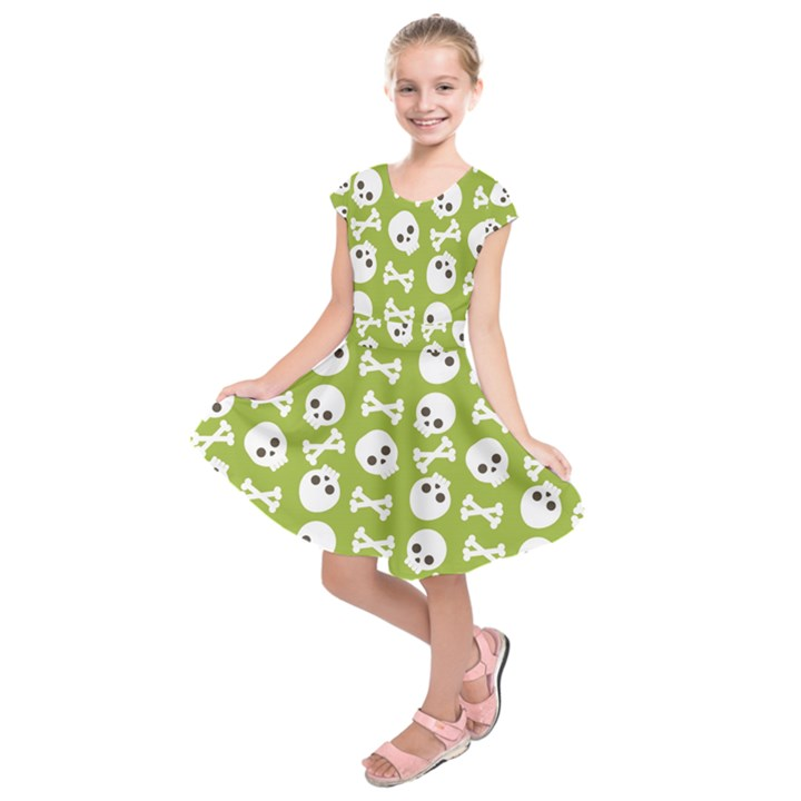 Skull Bone Mask Face White Green Kids  Short Sleeve Dress