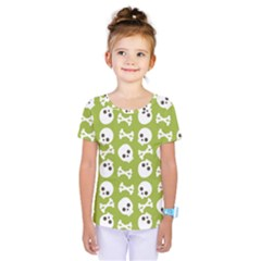 Skull Bone Mask Face White Green Kids  One Piece Tee