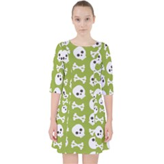 Skull Bone Mask Face White Green Pocket Dress