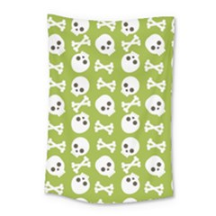 Skull Bone Mask Face White Green Small Tapestry